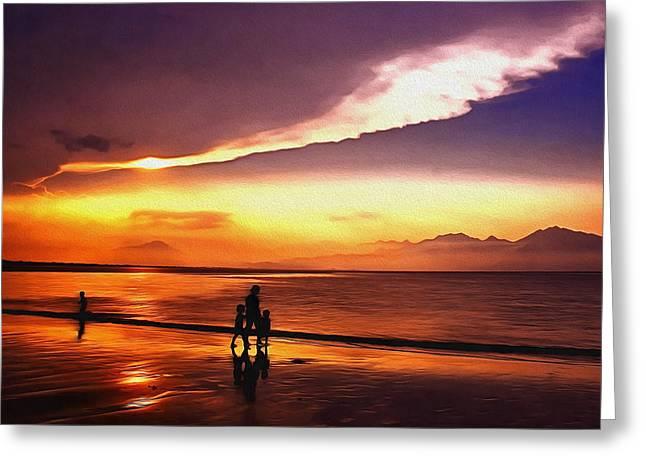 Sunset Beach Greeting Card by Georgiana Romanovna