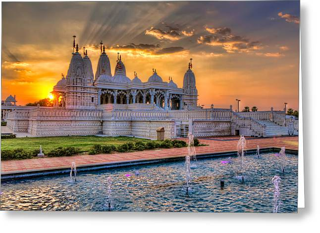Sunset Behind The Mandir Greeting Card