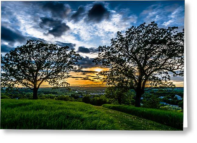 Sunset Between The Oaks Greeting Card