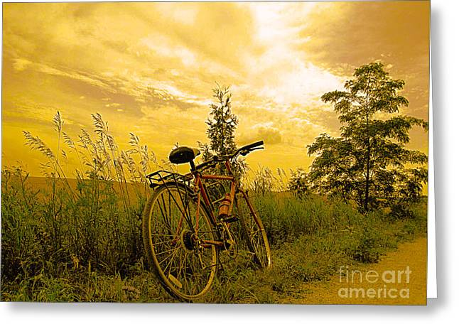 Sunset Biking Greeting Card