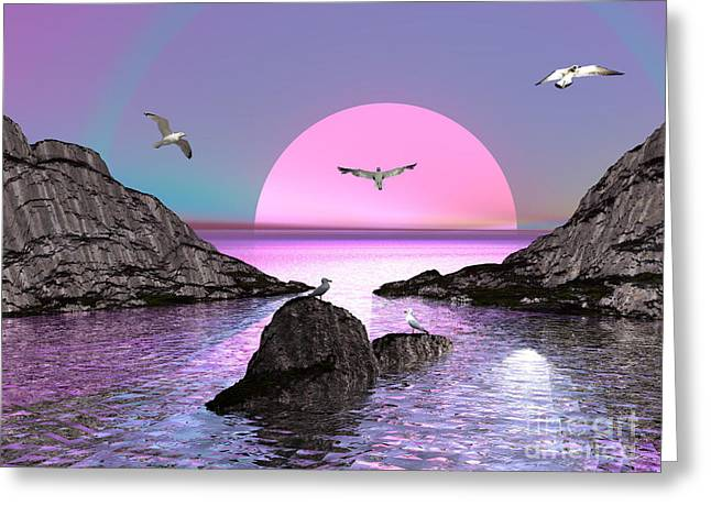 Sunset Birds In Flight Greeting Card