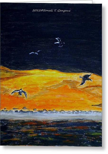 Sunset Birds Greeting Card by Sonali Gangane