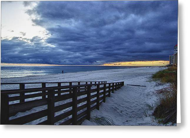 Sunset Boardwalk Greeting Card by Michael Thomas