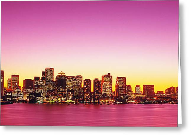 Sunset, Boston, Massachusetts, Usa Greeting Card by Panoramic Images