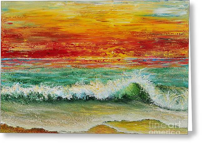 Greeting Card featuring the painting Sunset Breeze by Teresa Wegrzyn
