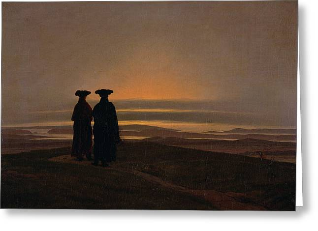 Sunset Brothers C.1830-35 Oil On Canvas Greeting Card by Caspar David Friedrich