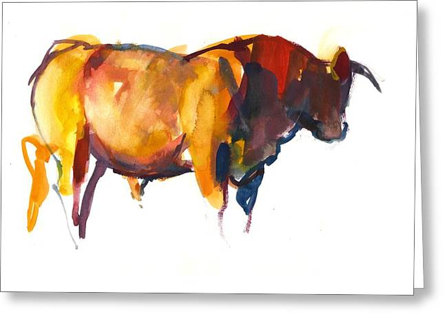 Sunset Bull, 2010 Watercolour And Gouache On Paper Greeting Card by Mark Adlington