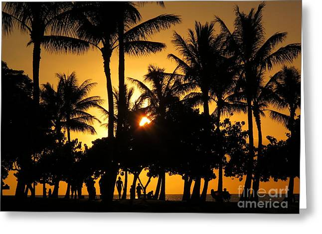 Sunset By The Beach Greeting Card by Ranjini Kandasamy