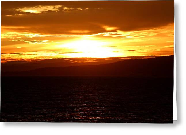 Sunset By The Fjord Greeting Card