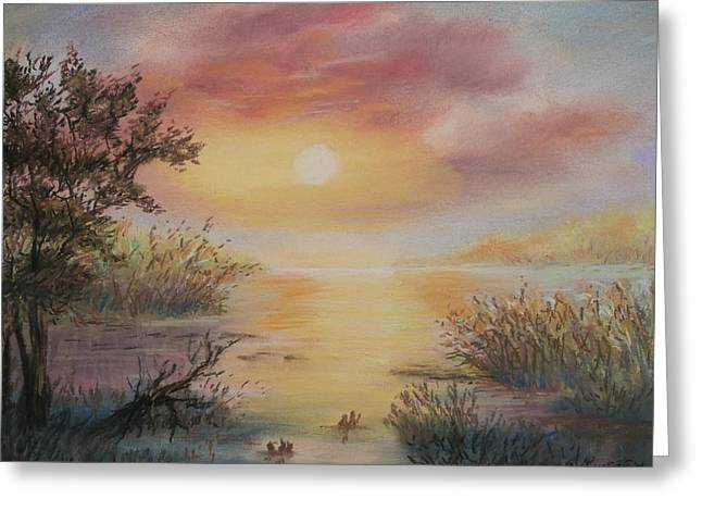 Sunset By The Lake Greeting Card