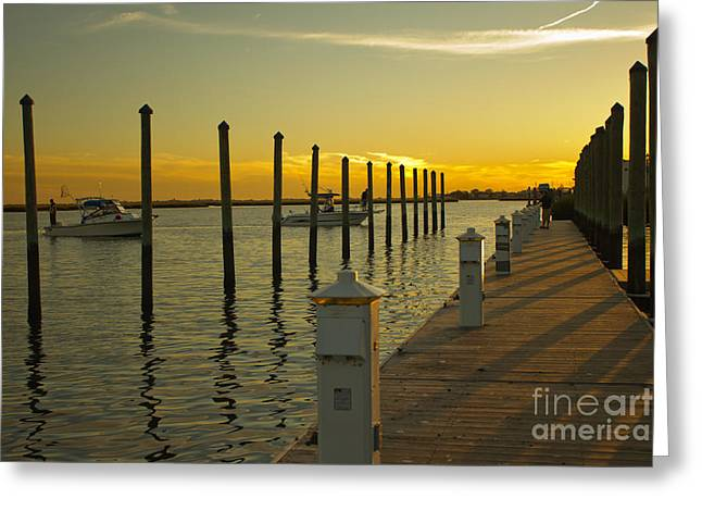 Greeting Card featuring the photograph Sunset By The Marina One by Jose Oquendo