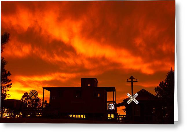 Sunset Caboose Greeting Card