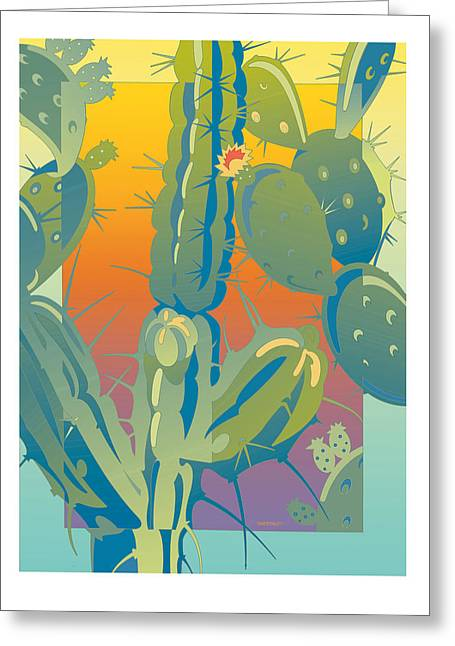 Sunset Cactus Greeting Card