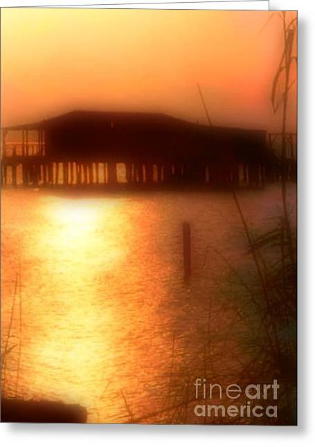 Sunset Camp On Lake Pontchartrain In New Orleans Louisiana Greeting Card by Michael Hoard
