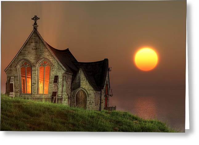 Sunset Chapel By The Sea Greeting Card by Christian Art