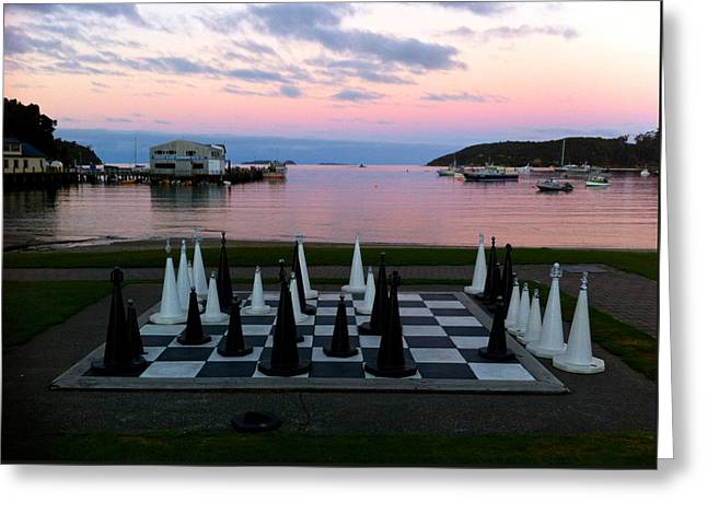 Sunset Chess At Half Moon Bay Greeting Card