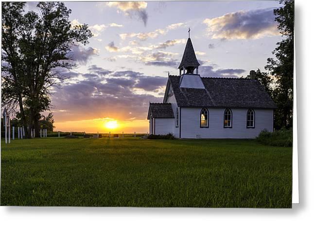 Sunset Church Greeting Card