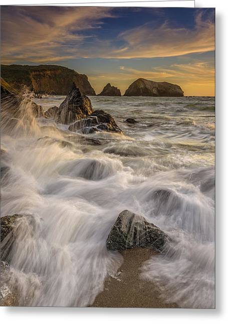 Sunset Churning Greeting Card by Rick Berk
