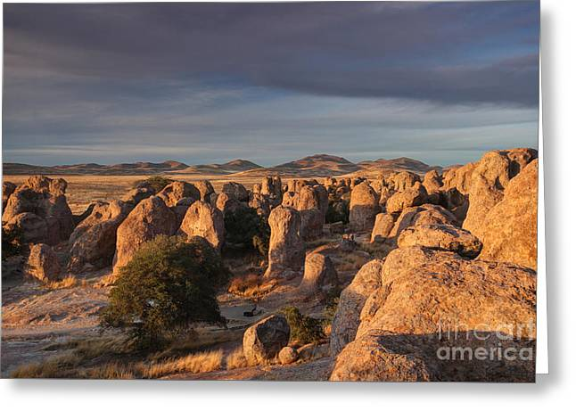 Greeting Card featuring the photograph Sunset City Of Rocks by Martin Konopacki