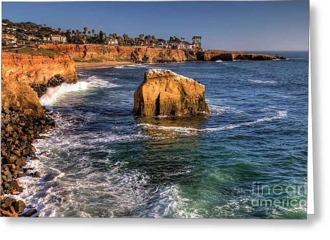 Sunset Cliffs Greeting Card by Eddie Yerkish