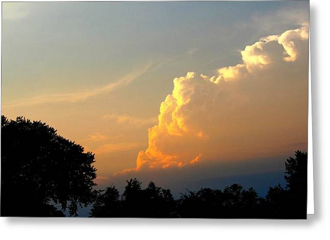 Sunset Clouds Building Greeting Card