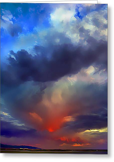 Sunset Clouds Over Albuquerque Greeting Card by Wernher Krutein