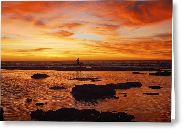 Sunset Coast Greeting Card by Niel Morley
