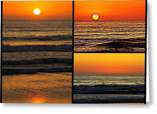 Sunset Collage Greeting Card by Sharon Soberon
