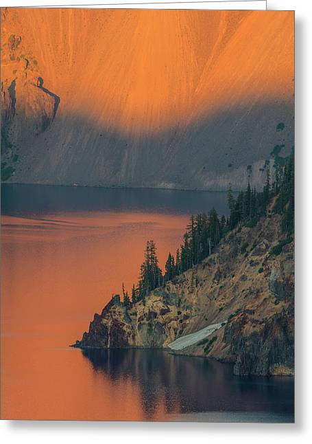 Sunset Colors The Waters At Crater Lake Greeting Card