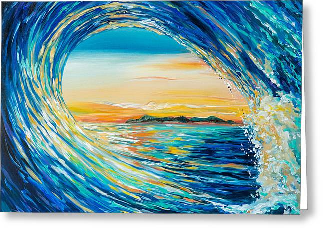 Greeting Card featuring the painting Sunset Curl by Linda Olsen