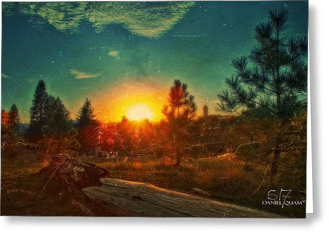 Sunset Greeting Card by Dan Quam
