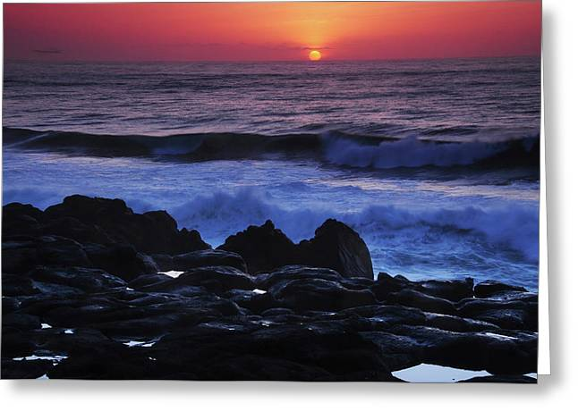 Sunset, Depoe Bay, Oregon, Usa Greeting Card by Michel Hersen