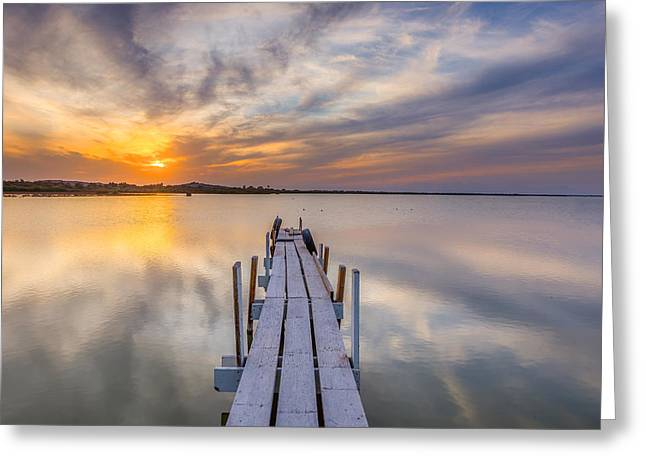 Sunset Dock Greeting Card by Peter Tellone