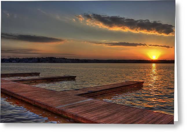 Sunset Docks On Lake Oconee Greeting Card by Reid Callaway