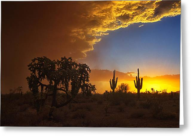 Sunset Dust Storm  Greeting Card by Saija  Lehtonen