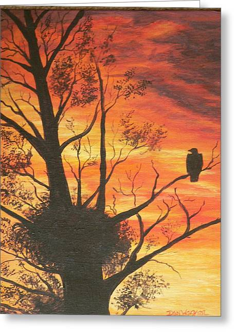 Greeting Card featuring the painting Sunset Eagle by Dan Wagner