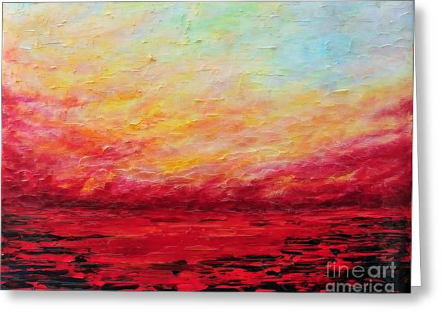 Sunset Fiery Greeting Card by Teresa Wegrzyn