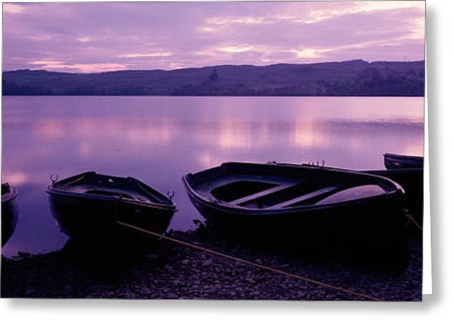 Sunset Fishing Boats Loch Awe Scotland Greeting Card by Panoramic Images