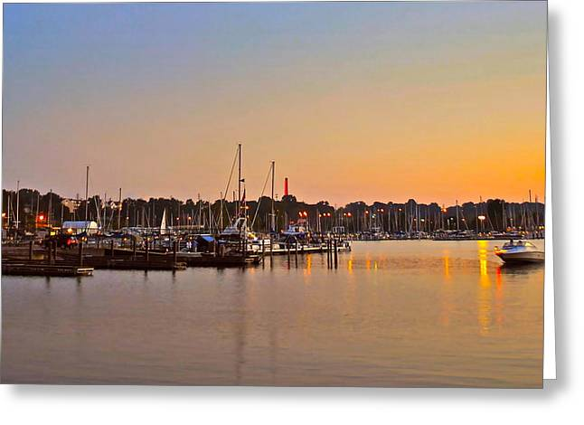Sunset Fishing Greeting Card by Frozen in Time Fine Art Photography