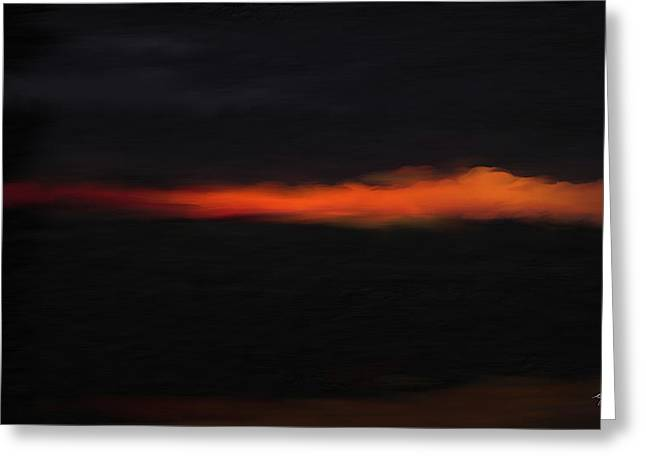 Sunset Flame Over Beach Greeting Card