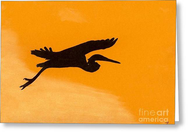 Greeting Card featuring the drawing Sunset Flight by D Hackett