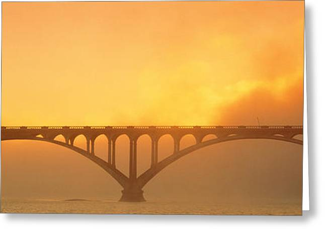 Sunset Fog And Highway 101 Bridge Ca Greeting Card