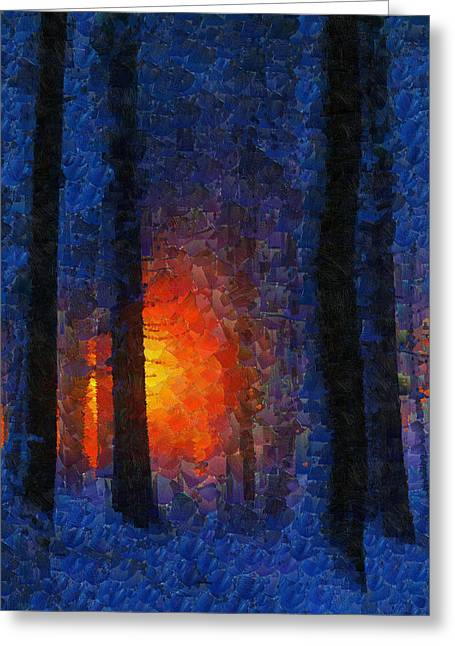 Sunset Forest Winter Greeting Card
