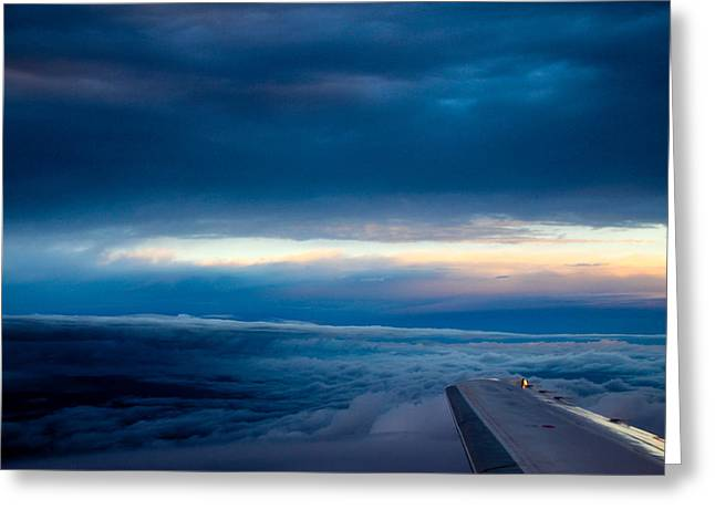 Greeting Card featuring the photograph Sunset From Above The Clouds by Cathy Donohoue
