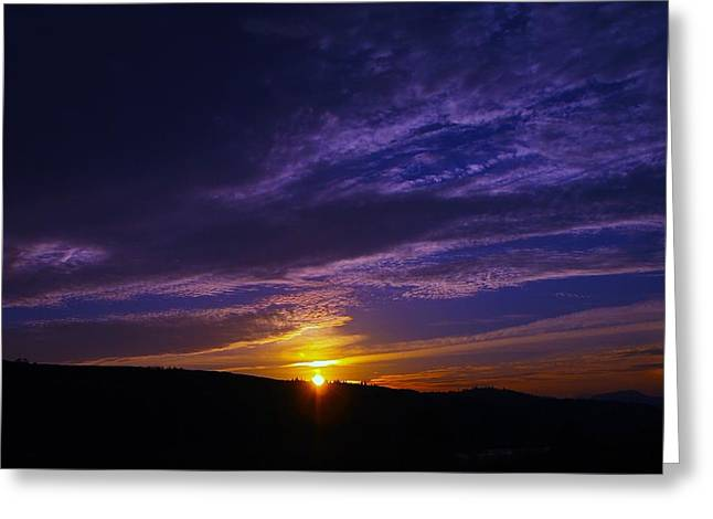 Sunset From Lyle Wa Greeting Card by Jeff Swan
