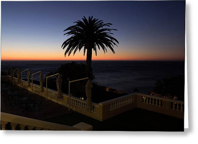 Sunset From Porch Of Ellerman House Greeting Card by Panoramic Images