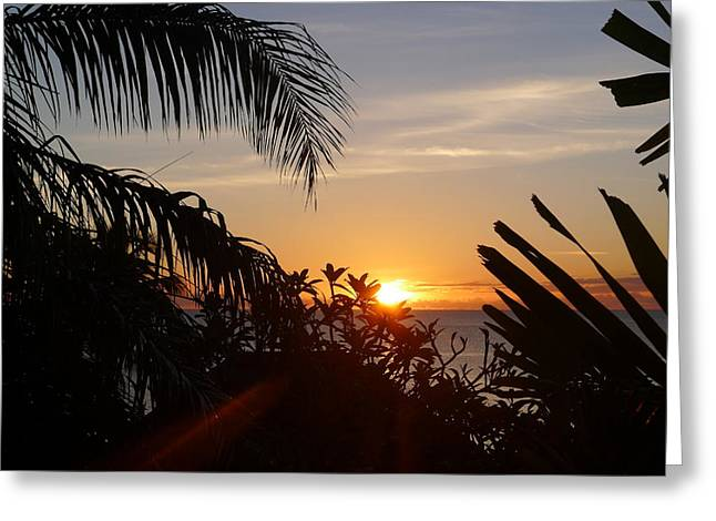 Sunset From Terrace - St. Lucia Greeting Card