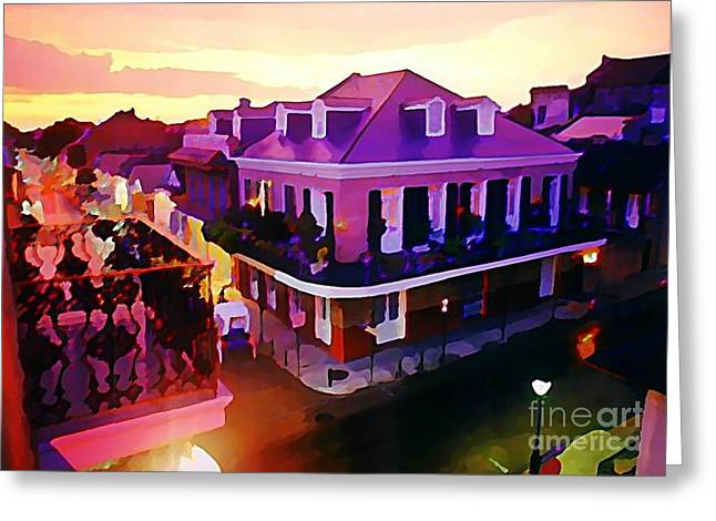Sunset From The Balcony In The French Quarter Of New Orleans Greeting Card by John Malone