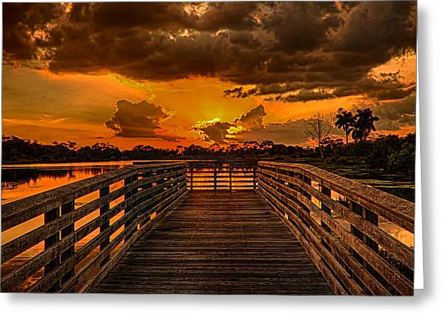 Sunset From The Dock Greeting Card by Don Durfee