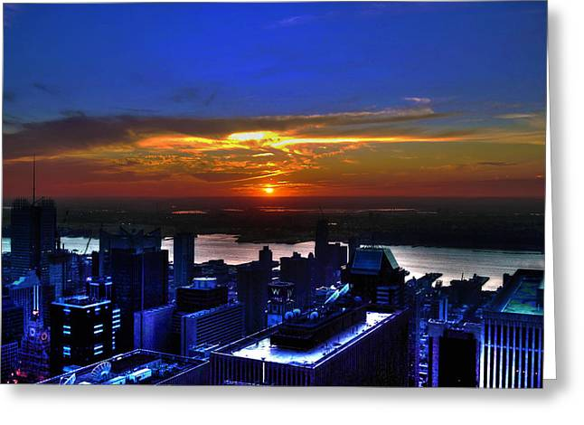Sunset From The Empire State Building Greeting Card by Randy Aveille